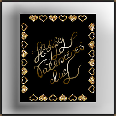 glitzy: Decorative frame with lettering. Suitable for invitation, flyer, sticker, poster, banner, card,label, cover, web. Vector illustration.