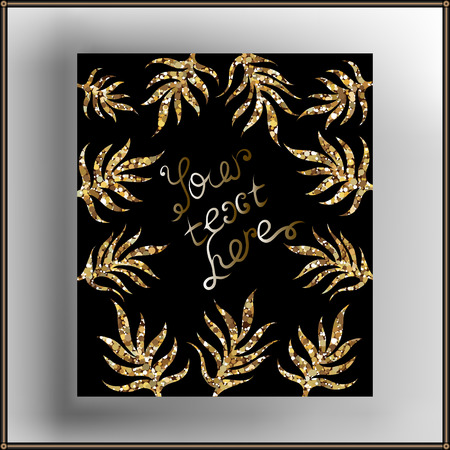 glitzy: Decorative frame with ornament and lettering. Suitable for invitation, flyer, sticker, poster, banner, card,label, cover, web. Vector illustration.