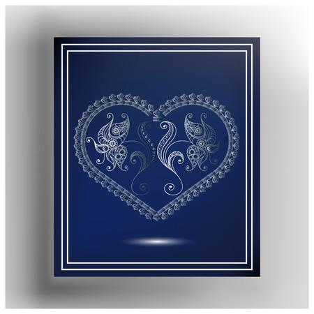 Spitze Valentine Herz im Rahmen. Passend für Einladung, Flieger, Aufkleber, Plakat, Fahne, Karte, Aufkleber, Abdeckung, Netz. Vektor-Illustration.