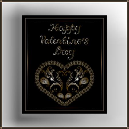 Lace Gold valentine Herzen im Rahmen. Geeignet für die Einladung, Flyer, Aufkleber, Poster, Banner, Karten, Etiketten, Cover, Web. Vektor-Illustration.