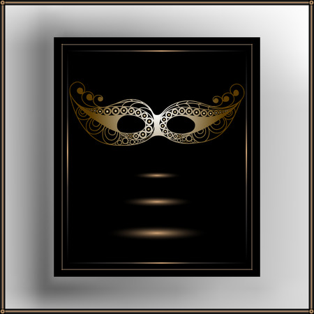 costume party: Graphic abstract decorative mask (symbol of the carnival in Venice). Suitable for invitation, flyer, sticker, poster, banner, card,label, cover, web. Vector illustration. Illustration