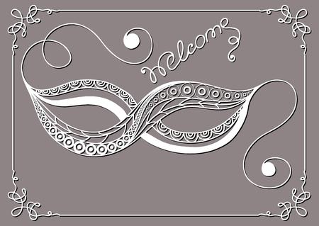Grafische abstracte decoratieve masker (symbool van het carnaval in Venetië). Geschikt voor de uitnodiging, flyer, sticker, poster, spandoek, kaart, label, dekking, web. Vector illustratie.