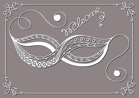 Graphic abstract decorative mask (symbol of the carnival in Venice). Suitable for invitation, flyer, sticker, poster, banner, card,label, cover, web. Vector illustration. Ilustrace