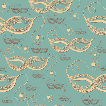 gobelin: Seamless pattern (texture) with abstract decorative mask (symbol of the carnival in Venice). Suitable for design: fabric, cloth, wallpaper, wrapping, packaging. Vector illustration.