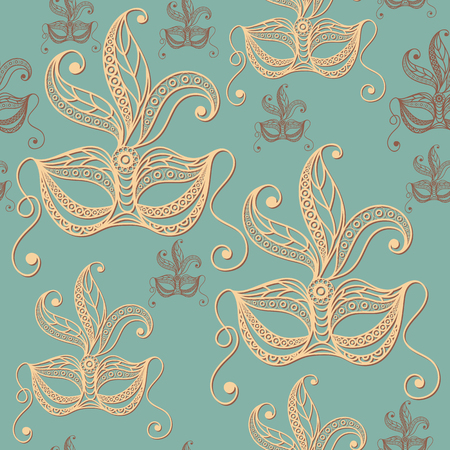 Seamless pattern (texture) with abstract decorative mask (symbol of the carnival in Venice). Suitable for design: fabric, cloth, wallpaper, wrapping, packaging. Vector illustration.