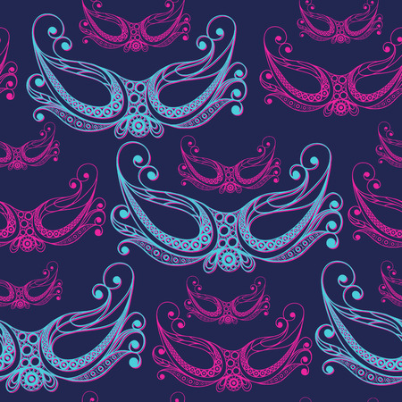gobelin tapestry: Seamless pattern (texture) with abstract decorative mask (symbol of the carnival in Venice). Suitable for design: fabric, cloth, wallpaper, wrapping, packaging. Vector illustration.