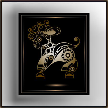 Graphic abstract decorative sheep. Suitable for invitation, flyer, sticker, poster, banner, card,label, cover, web. Vector illustration.