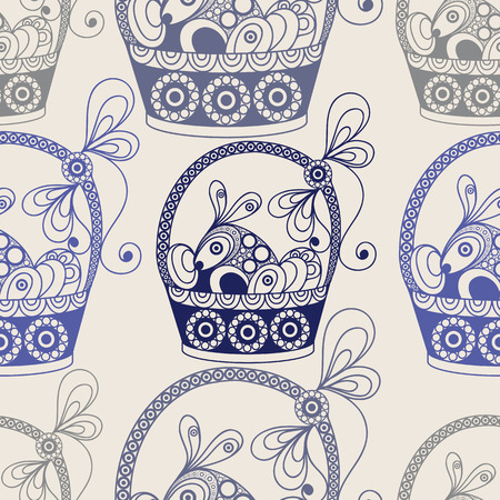 gobelin tapestry: Seamless pattern with basket with eggs and rabbit (symbol of the Easter holiday). Decorative print. Abstract background texture. Fabric, cloth design, wallpaper, wrapping, packaging. Vector illustration. Illustration