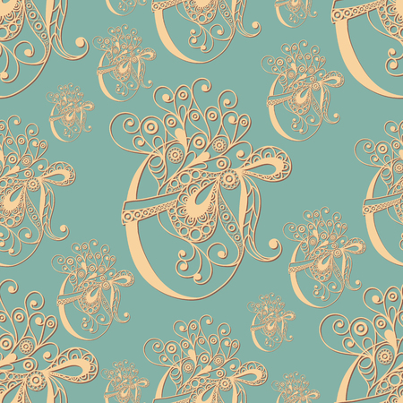 Seamless pattern with egg with bow(symbol of the Easter holiday). Decorative print. Abstract background texture. Fabric, cloth design, wallpaper, wrapping, packaging. Vector illustration.