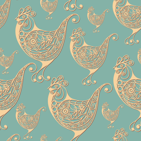 Seamless pattern with chicken (symbol of the Easter holiday). Decorative print. Abstract background texture. Fabric, cloth design, wallpaper, wrapping, packaging. Vector illustration. Illustration