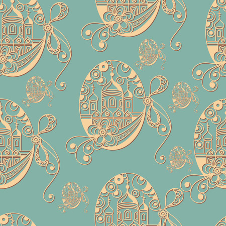 Seamless pattern with egg with bow and the ?hurch (symbol of the Easter holiday). Decorative print. Abstract background texture. Fabric, cloth design, wallpaper, wrapping, packaging. Vector illustration. Illustration