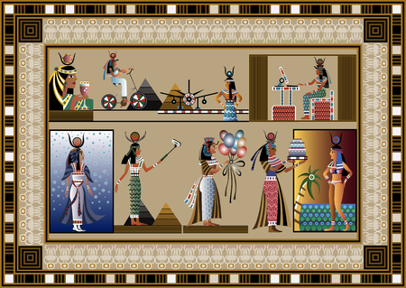 Graphic abstract decorative set with goddesses (Egyptian symbols)-set. Suitable for invitation, flyer, sticker, poster, banner, card,label, cover, web. Vector illustration.