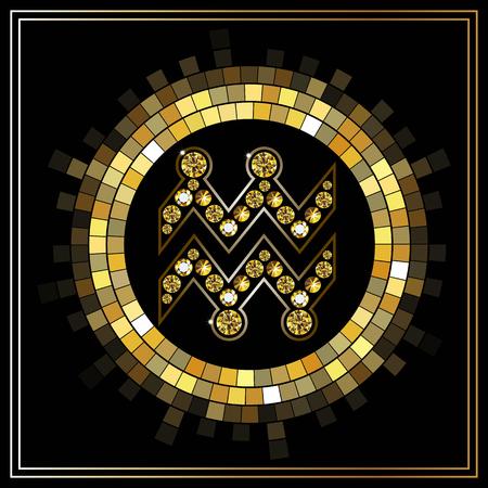 Decorative zodiac sign Aquarius. Horoscope and astrology (astronomy)-symbol. Illustration
