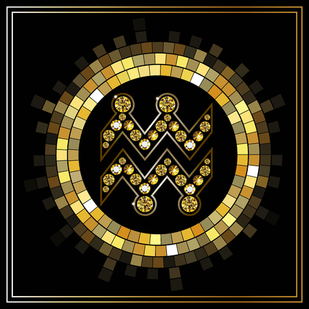 zodiacal symbol: Decorative zodiac sign Aquarius. Horoscope and astrology (astronomy)-symbol. Illustration