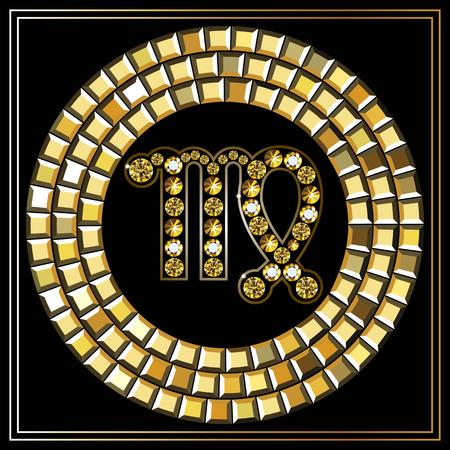 zodiacal symbol: Decorative zodiac sign Virgo. Horoscope and astrology (astronomy)-symbol.