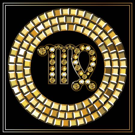 virgo: Signo decorativo del zodiaco Virgo. Horóscopo y astrología (astronomía) -símbolo. Vectores