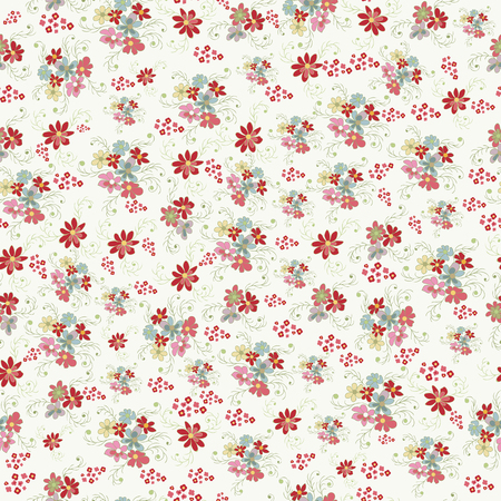Flowery pattern with small-scale flowers. Liberty style millefleurs. Floral seamless background. Texture for textile, manufacturing, wallpapers, print, gift wrap, scrapbooking, book cover, cloth design. illustration.