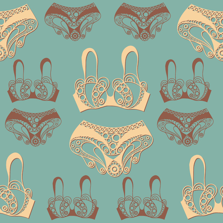 Seamless abstract background with underwear (lingerie)-bra, panties. Texture (pattern) for textile, wallpapers, print, wrapping, scrapbooking, book cover, cloth design. Vector illustration.