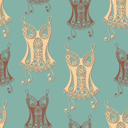 Seamless abstract background with underwear (lingerie)-corset. Texture (pattern) for textile, wallpapers, print, wrapping, scrapbooking, book cover, cloth design. Vector illustration.