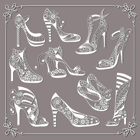Graphic abstract decorative shoes (footwear)-set(kit). Suitable for invitation, flyer, sticker, poster, banner, card,label, cover, web. Vector illustration.