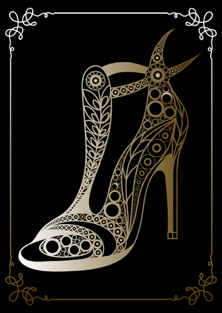 Graphic abstract decorative shoes (footwear)-sandals. Suitable for invitation, flyer, sticker, poster, banner, card,label, cover, web. Vector illustration. Illustration