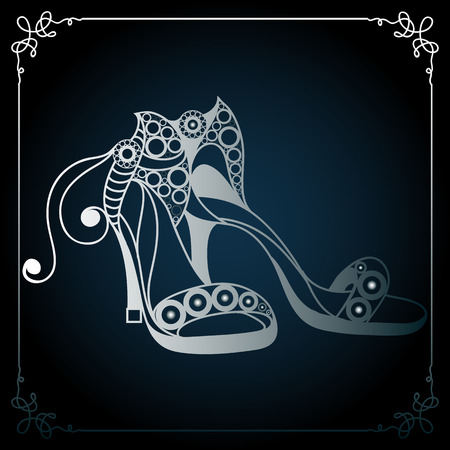 broadsheet: Graphic abstract decorative shoes (footwear)-sandals. Suitable for invitation, flyer, sticker, poster, banner, card,label, cover, web. Vector illustration. Illustration