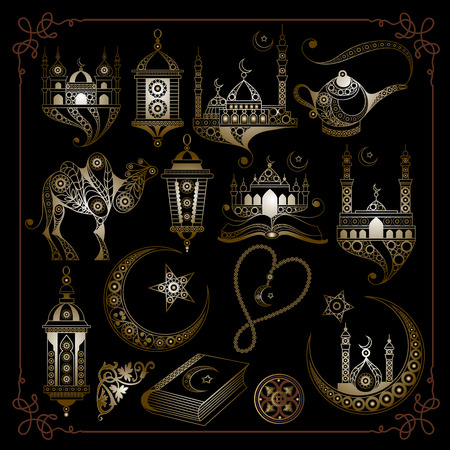 Graphic abstract decorative Ramadan symbols-set. Suitable for invitation, flyer, sticker, poster, banner, card, label, cover, web. Vector illustration.