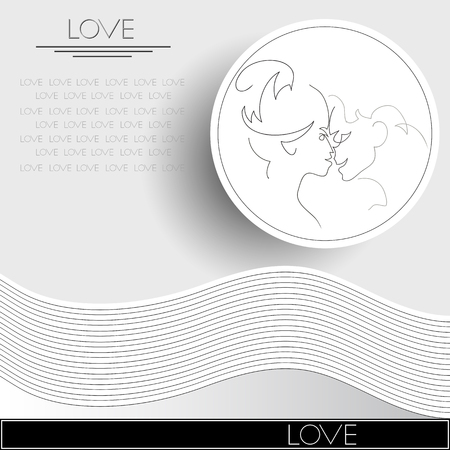 suitable: Graphic illustration with couple in love. Suitable for invitation, flyer, sticker, poster, banner, card,label, cover, web. Vector illustration.