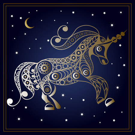 mythological character: Graphic abstract unicorn (monoceros) in line art style. Mythical creature. Suitable for invitation, flyer, sticker, poster, banner, card, label, cover, web. Vector illustration.
