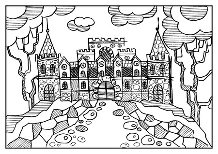 chateau: Fantasy landscape. Fairy tale castle, old medieval town, park trees. Hand drawn sketch. Album cover. Coloring book page. Suitable for invitation, flyer, sticker, poster, banner, card, label, cover, web. Vector illustration. Illustration