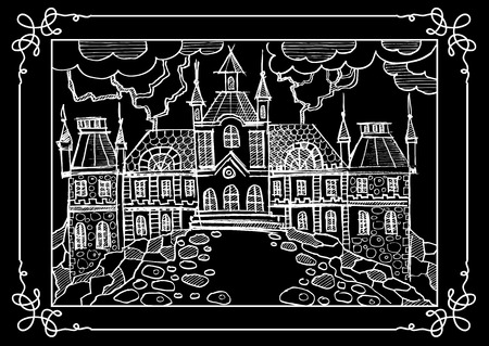 chateau: Fantasy landscape. Fairy tale castle, old medieval town, park trees. Hand drawn sketch. Album cover. Suitable for invitation, flyer, sticker, poster, banner, card, label, cover, web. Vector illustration. Illustration