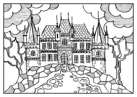 146 chateau town cliparts stock vector and royalty free chateau Oldest House fantasy landscape fairy tale castle old medieval town park trees hand drawn