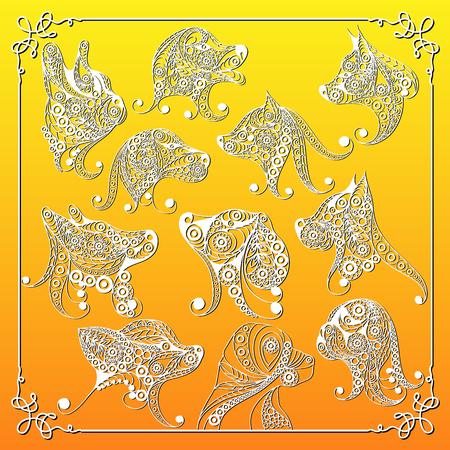 Illustration of earth (yellow) dogs, symbol of 2018-set. Silhouette of hound, decorated with floral pattern. Vector element for New Years design.