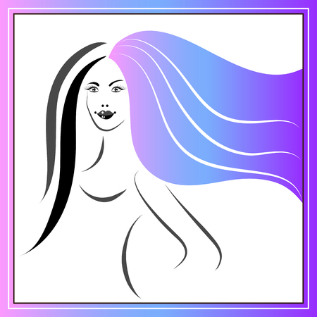 Branding for salon (barbershop, hairdresser) stylist. Coloring (marbling) of hair. Vector illustration.