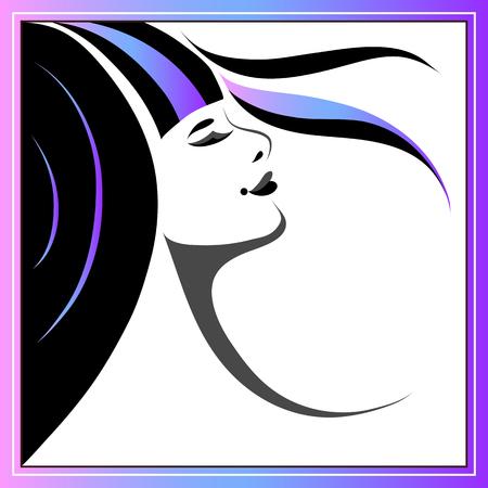 Branding for salon (barbershop, hairdresser) stylist. Coloring (marbling) of hair. Vector illustration. Illustration