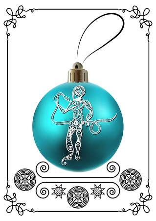 year of snake: Decorative zodiac sign Ophiuchus. Horoscope and astrology (astronomy)-symbol. Christmas ball. New Years design. Vector illustration. Illustration