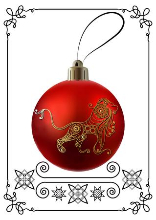 calendar design: Decorative zodiac sign Leo. Horoscope and astrology (astronomy)-symbol. Christmas ball. New Years design. Vector illustration.