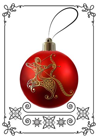calendar design: Decorative zodiac sign Sagittarius. Horoscope and astrology (astronomy)-symbol. Christmas ball. New Years design. Vector illustration.