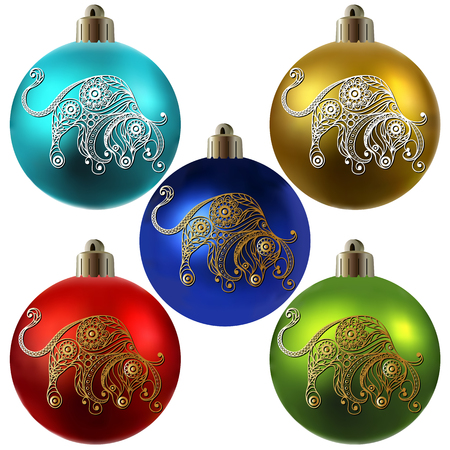 calendar design: Decorative zodiac sign Taurus. Horoscope and astrology (astronomy)-symbol. Christmas ball. New Years design. Vector illustration.