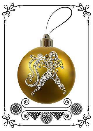 Decorative zodiac sign Aquarius. Horoscope and astrology (astronomy)-symbol. Christmas ball. New Years design. Vector illustration. Illustration