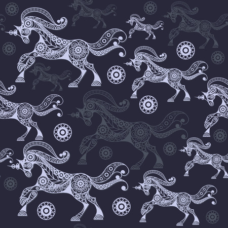 mythological character: Seamless pattern (texture) with abstract decorative unicorn (monoceros). Mythical creature. Suitable for design: fabric, cloth, wallpaper, wrapping, packaging. Vector illustration.