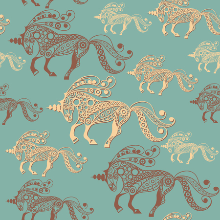 Seamless pattern (texture) with abstract decorative unicorn (monoceros). Mythical creature. Suitable for design: fabric, cloth, wallpaper, wrapping, packaging. Vector illustration.
