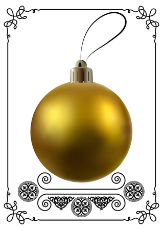 Christmas ball. Holiday decoration isolated on a white background. Mockup for design. Vector illustration.