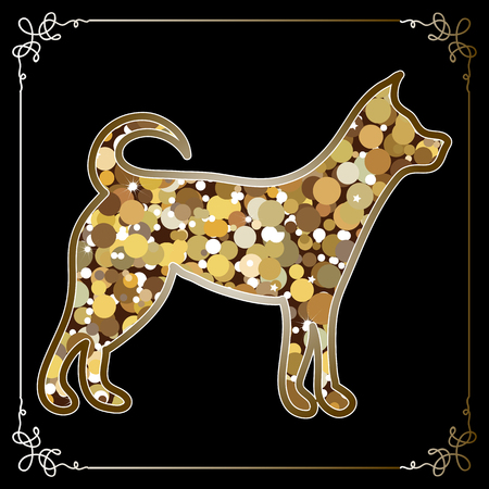 Illustration of earth dog, symbol of 2018. Silhouette of hound, decorated with floral pattern. Vector element for New Years design.