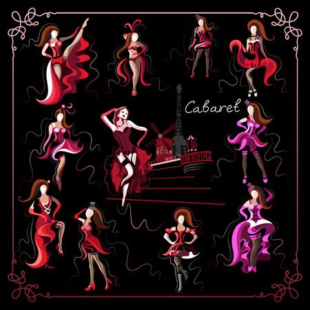 Dames (dames, dames, dames) -cabaret dansers-set (set, groep). Geschikt voor uitnodiging, flyer, sticker, poster, banner, kaart, label, dekking, web. Vector illustratie. Stock Illustratie