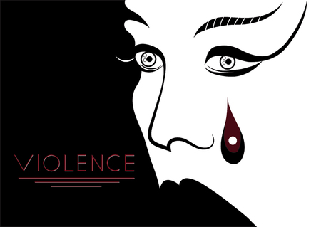 Abused young woman (lady, female, girl). Violence against women, rape concept. Suitable for invitation, flyer, sticker, poster, banner, card, label, cover, web. Vector illustration.