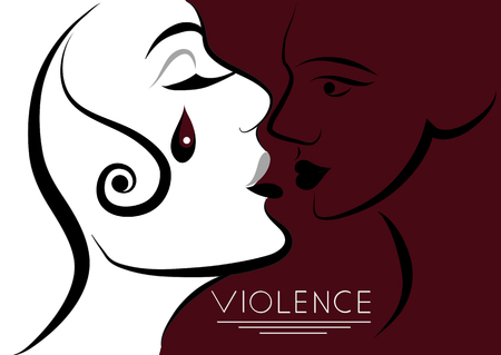 Abused young woman (lady, female, girl). Violence against women, rape concept. Suitable for invitation, flyer, sticker, poster, banner, card, label, cover, web. Vector illustration. Çizim
