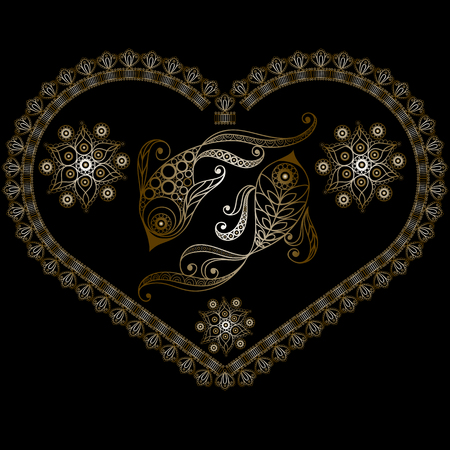 Decorative Horoscope and astrology symbol Pisces 일러스트