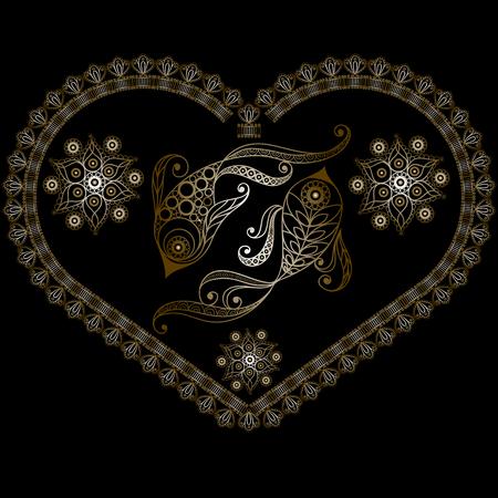 Decorative Horoscope and astrology symbol Pisces Illustration
