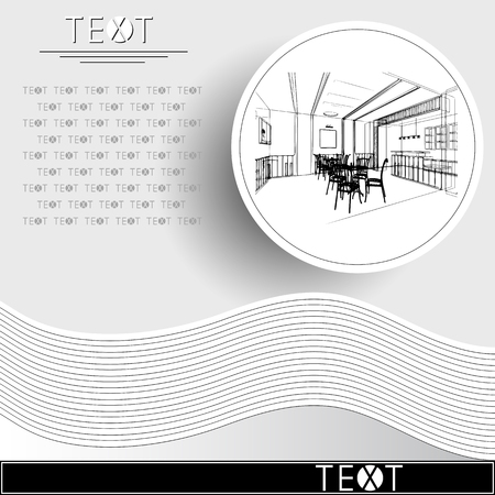 Graphic drawing with abstract interior. Rounded template with sketch of cafe (restaurant).